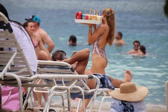 Beach drink waitress is always on the go