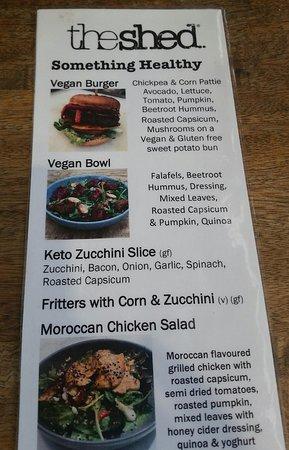 Vegan Burger menu details.
