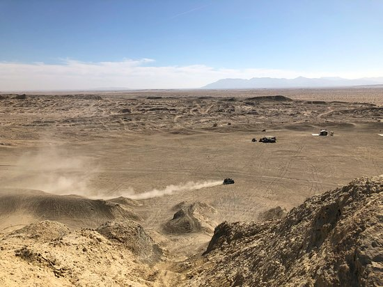 A driver dust trail across the desert floor - shot from the top of Shell Reef in Ocotillo Wells SVRA