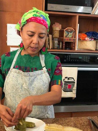Pilar at cooking class