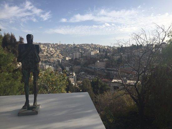 Statue in the grounds of Darat al Funun overlooking Amman hills