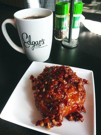 Coffee and a warm pecan bun