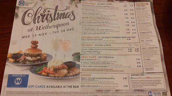 Wetherspoons Christmas Menu   Picture of Golden Grove Pub, London