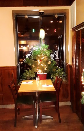 Table for two- upper level, Christmas and holiday decorations.