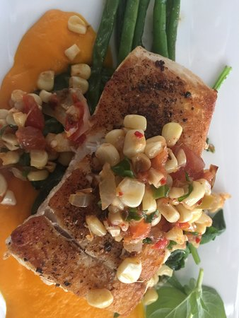 Halibut with sweet corn salsa and carrot puree
