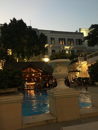 Sunset at the Pool - View on the historic building