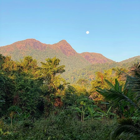 The moon over Salak Phet mountain.  Enjoy the serene and melodic sounds of nature.