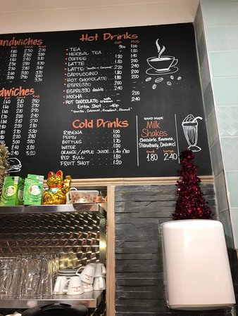 Our menu for cold and hot drinks (coffee, americano, latte, tea, hot chocolate, etc)