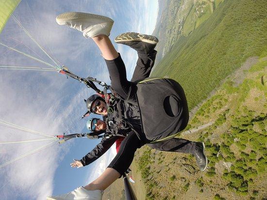 Coronet Peak Tandem Paragliding Main Take off: Daughter having fun