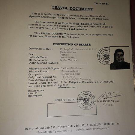 Philippines: ياجماعة الخير باالله عليكم ساعدوني في البحث عن هذه السيدة  . انها من الفلبين . وفي الصفحة كل امر متعلق بها من صور جواز سفر وغيره . ولها زوج اسمه رسول وابن اسمه رشيد . في حال توصل لها احد اتمنى ان يراسلني على هذه الصفحة . ستفرح كثيرا  عندما تسمع صوتنا نحن من سوريا وهي كانت تعمل عندنا في عام ٢٠١٠