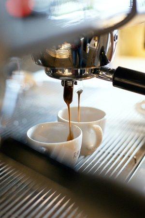 A shot of creamy espresso from Guatemala Antigua beans. Single Origin Specialty Coffee