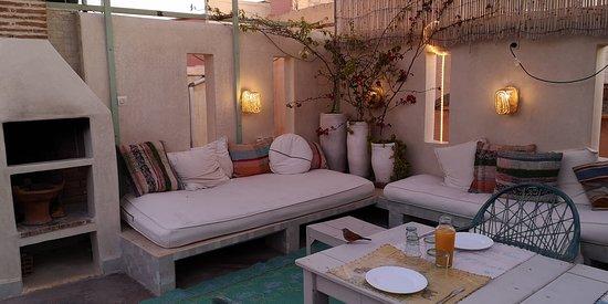 Roof-top terrace, early breakfast