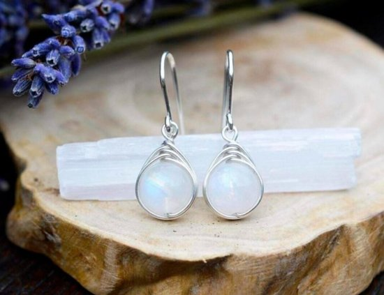 Седона, Аризона: Moonstone Wire Wrap Earrings For Sale