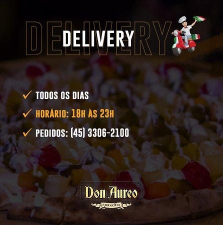 O seu pedido é uma ordem! 🛵🍕  Delivery: (45) 3306-2100  📍 Rua Pio XII, 3212 Horário: 18:00 às 23:00 De segunda a segunda!