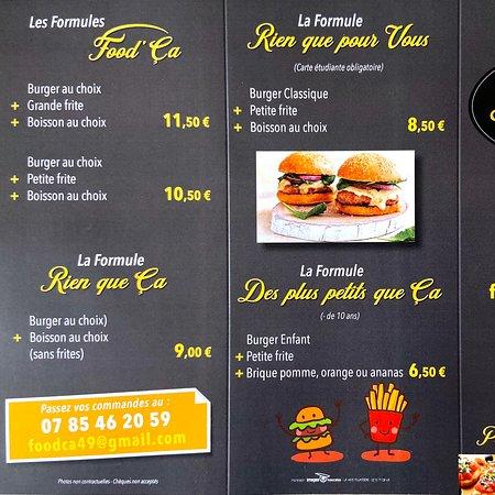 Maine et Loire, ฝรั่งเศส: Voici nos menus
