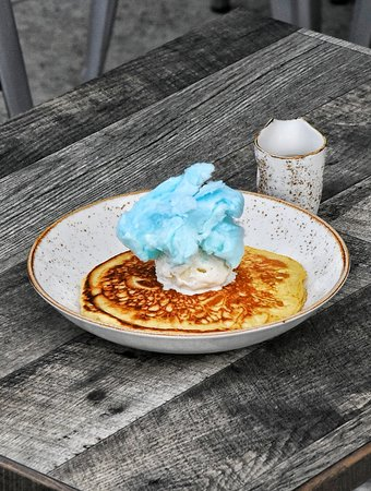 Kid S Hot Cakes Served With Vanilla Bean Ice Cream Cotton Candy And Maple Syrup Picture Of The Aussie Grind Frisco Tripadvisor