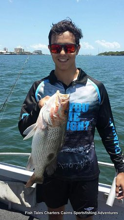 22nd November 2019 Harry and his catch of a 54 cm Fingermark in the estuary of Trinity inlet, Cairns.