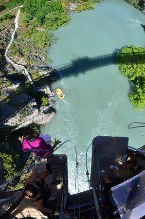 The Original Kawarau Bridge Bungy Jump in Queenstown: about to jump