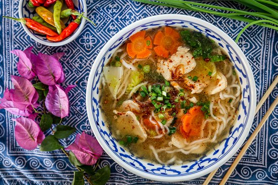 Khao Piak Sen - Rice Noodle Soup with Chicken or Pork