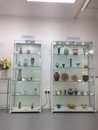 Victorian glass and German Art Deco glass cabinets