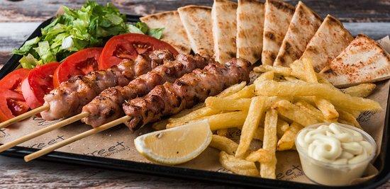 Main Dishes: Chicken stick (3 sticks, tomato, lettuse, fries, sause, pita bread)
