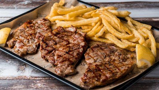 Main Dishes: Pork Chops (no bone) with fries, tzatziki, pita bread)