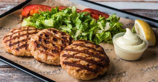 Main Dishes: Chicken burgers (3 burgers, tomato, lettuse, fries, yogurt sause, pita bread)