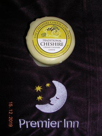 Stoke-on-Trent, UK: A cheese truckle purchased at the Trentham Gardens Shopping Village opposite The Premier Inn