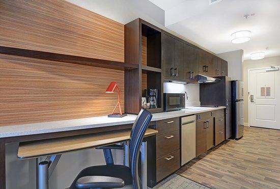 Suite Work Desk and Kitchen
