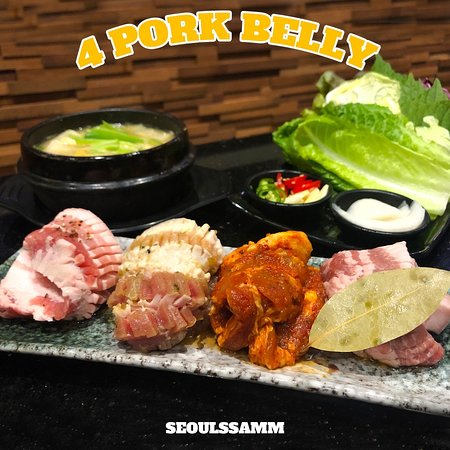 4 different types of Samgyopsal Enjoy the various flavour of pork belly in one dish!(Original / Wine / Red Pepper Paste / Bulgogi)  Don't forget to #makeitssamm 🔥 @seoulssamm  ▶️ Wine Samgyopsal Marinated for over 20hours with Wine and Bay Leaf ▶️ Red Pepper Paste Samgyopsal Marinated in Special Korean Spicy sauce for over 20hours. ▶️ Bulgogi Samgyopsal Marinated in SEOUL SSAMM Special Bulgogi soy sauce for over 20hours with vegetables.