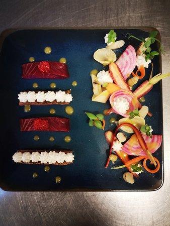 Coeur de saumon fumé légumes pickles