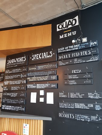 Menu boards, spot of lunch in the Quad cafe