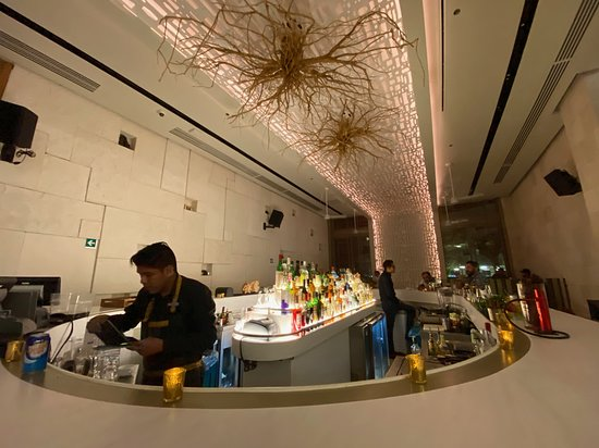 Hotel bar. They will serve foo from restaurant.