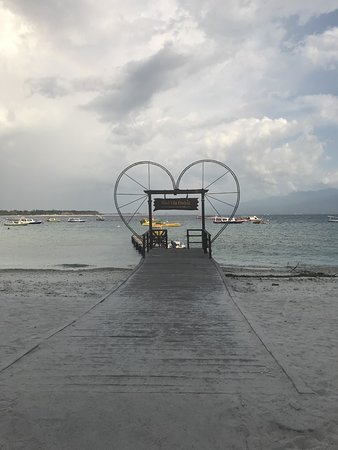 The jetty and sign