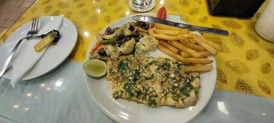 mouth watering food, particularly the fish.