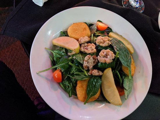 Goat Cheese & Spinach Salad in Theater (downstairs). $18.