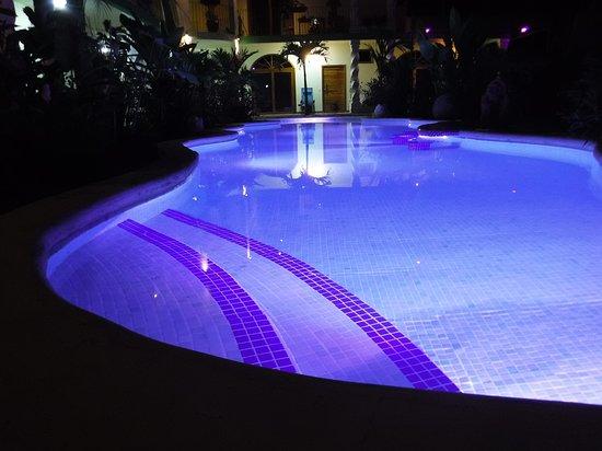 Hotel Lagoon Pool Lights at Night - Blue