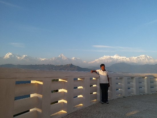 Beautiful Annapurna Mountain Views from World Peace Pagauda, Pokhara  www.mountainkingtreks.com ( info@mountainkingtreks.com )