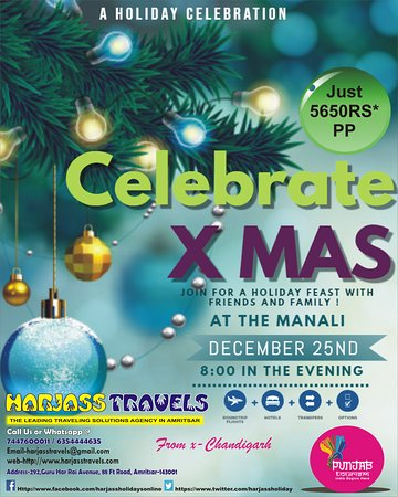 🎅🤶🎅🤶🎅🤶🎅🤶 CELEBRATE CHRITMAS WITH US at Manali in just 5650Rs*pp  3 Nights / 4 Days  PACKAGE INCLUDES- 💠Hotels 💠All Meals 💠Pvt Transport 💠All Sightscenes 💠Dj Night 💠Camp Fire  For More Info Contact-  Harjass Travels  Call Us @ 6354444635 or 7447600011 Email-harjasstravels@gmail.com Web-http://www.harjasstravels.com