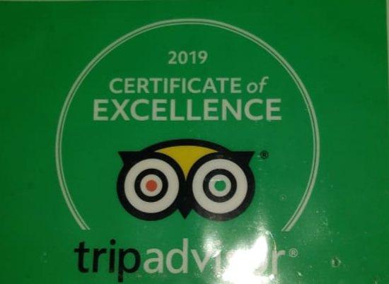 Tripadvisor certificate sticker .