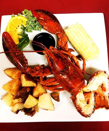 Limited Time Special: Whole Maine Lobster stuffed with Crab Imperial and Broiled Shrimp