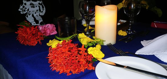 Last meal at Le Grande Bleu with flowers - Yahya made the table so special