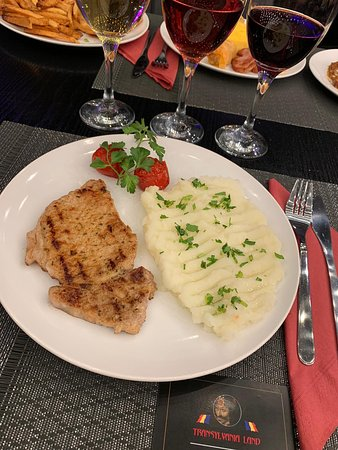 Grilled pork and mashed potatoes.