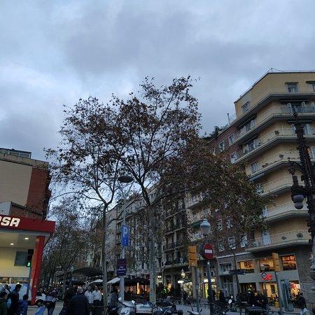 Barcelona, Spanien: Avenida Gaudí que desemboca en la Sagrada Familis