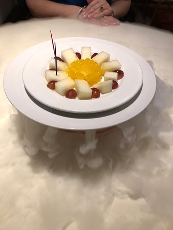 Fruit plate on top of dry ice