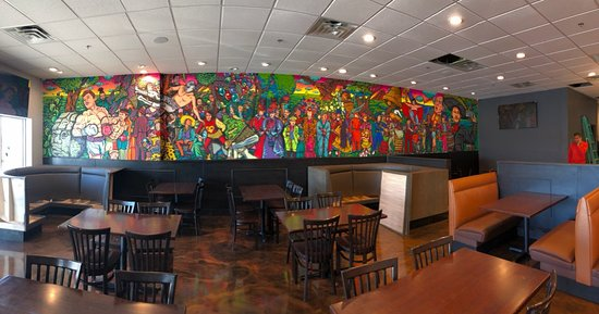Hand painted mural by local OKC artist.