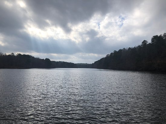 Oak Mountain Lake. There is a boat launch ramp and a picnic area. This photo was taken from the picnic area. Beautiful view; would've stayed longer if it wasn't so windy and cold!