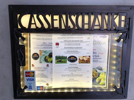 Bratwurst Roeslein - menu posted outside the restaurant