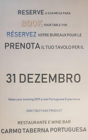 Carmo Taberna Portuguesa e Wine Bar: Open 31 December