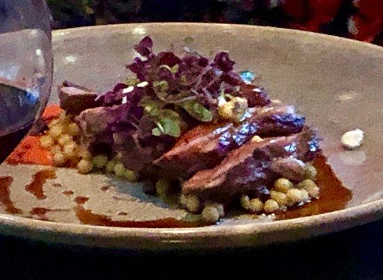 Lamb Rump, pencil leek, capsicum, Moroccan spiced pearl couscous, feta